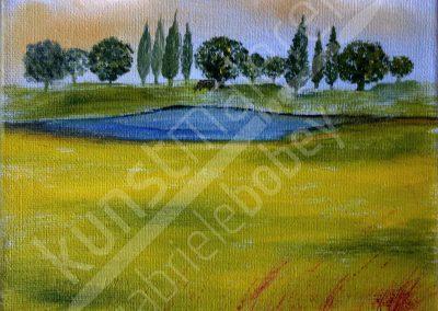 Acrylbild mit Wiese und See