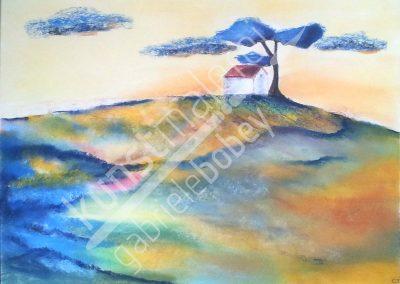 Abstrakte Ansicht eines Hauses auf einem Berg in Pastellkreide