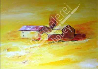 Abstraktes Ölbild mit mediterraner Landschaft in Gelbtönen