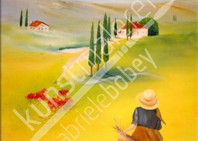 Mediterrane Ölmalerei mit entfremdeter Toskana mit Zypressen