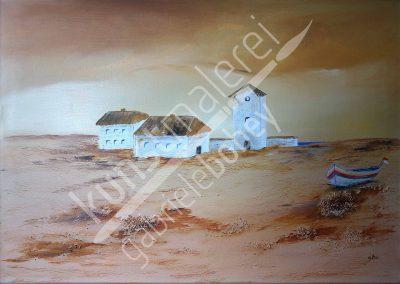 Acrylmalerei Landschaften mit Erdtönen bestimmen das Acrylbild mit stiller Weite