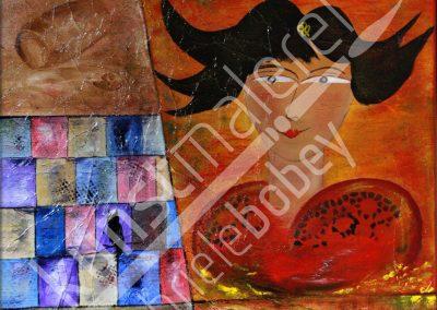Abstrakte Kombination von Ölfarben mit einem Hof am Horizont