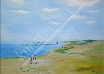 Ölbild mit Spaziergang am Strand
