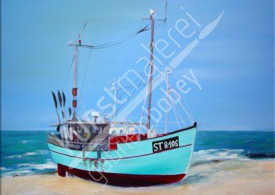 Abstrakte Ölmalerei mit einem Fischerboot am Meer
