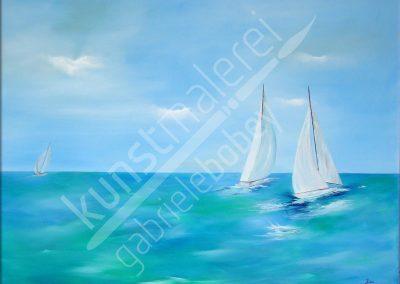 Ölmalerei mit Segelbooten im Wind