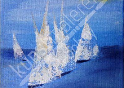 Acrylmalerei maritim mit Regatta auf dem Meer
