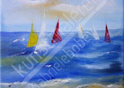 Acrylmalerei maritim mit abstraktem maritimen Meer und Regatta