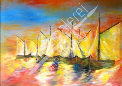 Maritimes abstraktes Acrylbild auf Leinwand mit Schonern auf der Ostsee