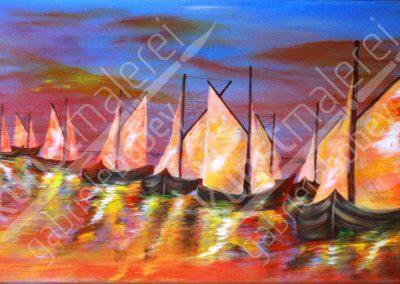 Acrylmalerei maritim mit Schonern auf der Ostsee in rötlichen farbintensiven Acrylfarben
