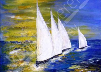 Acrylmalerei maritim mit abstrakten Segelbooten auf hoher See