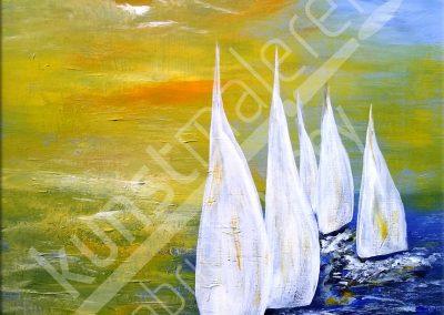 Acrylmalerei maritim mit abstrakten Segelbooten auf dem Meer