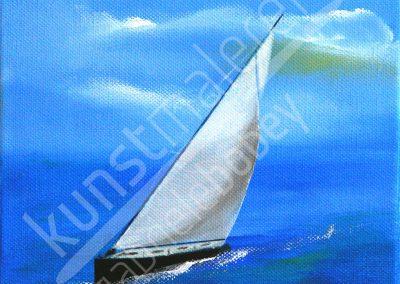 Acrylmalerei maritim mit Segelboot in voller Fahrt als Acrylgemälde