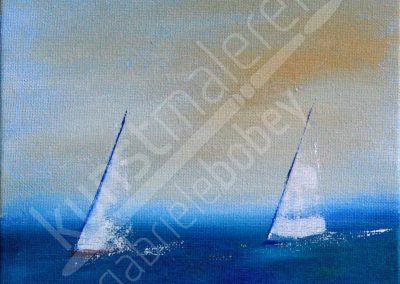 Acrylmalerei maritim mit zwei Segelbooten auf der Ostsee