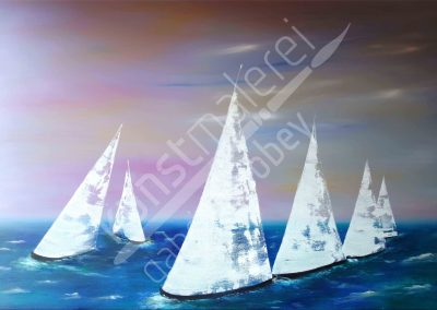 Segelboote bei Sonnenaufgang auf dem Meer als Ölgemälde auf Leinwand