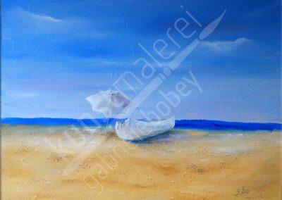 Sonnenbad am Meer mit Ölfarben