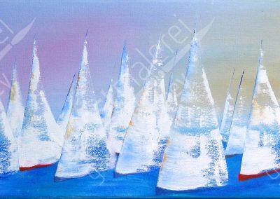 Maritime Ölmalerei mit Regatta-Start auf dem Meer