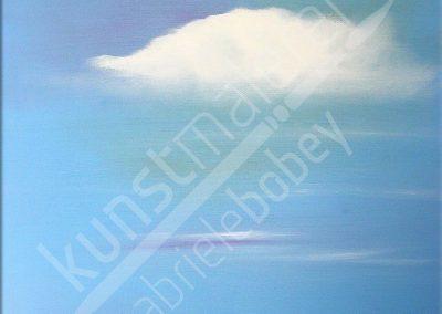 Einsame Wolke über dem Meer in Öl auf Leinwand