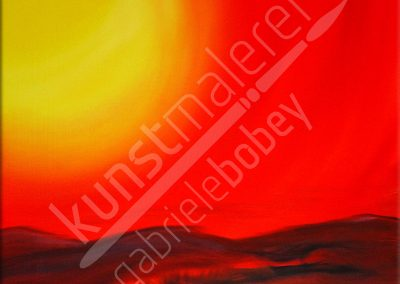 Ölmalerei mit kräftiger Abendsonne über den Hügeln