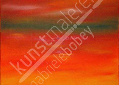 Rotes Ölbild auf Leinwand mit Sonnenuntergang