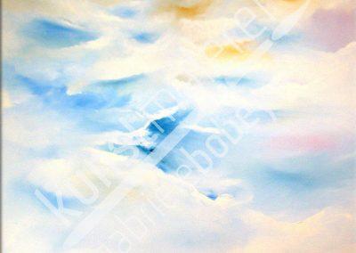 Pastellfarbene Ölmalerei mit moderner Himmel-Wolken-Formation