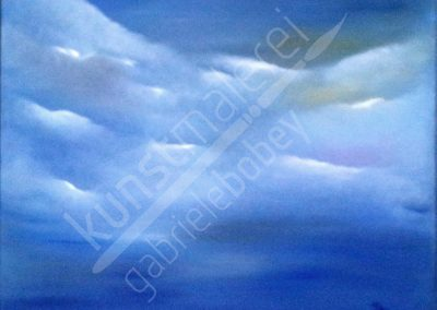 Modernes Himmelbild mit Wolken in Öl