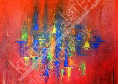 Abstrakte Farbbegegnung in einem Acrylbild auf Leinwand