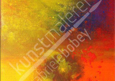 Farbintensive Acrylmalerei mit abstrakten Strukturen und rötlichem Farbraum