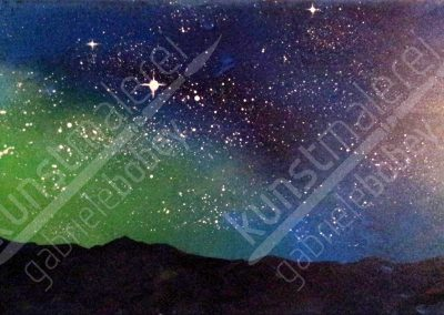 Aurora Borealis Bergnachthimmel mit Sternen in Acrylfarben