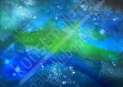 Moderne abstrakte Acrylmalerei mit Sternennebel im Universum