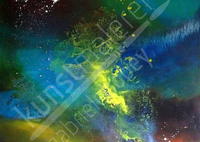 Acrylmalerei modern mit Weltall Motiv in Grün und Gelb