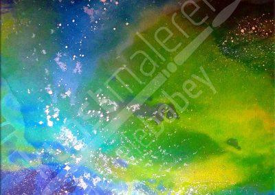 Kontrastreiche Acrylmalerei mit abstraktem Universum in Grün auf Leinwand