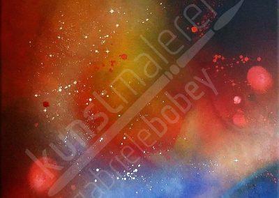 Farbintensives Acrylbild als Schüttbild mit Universum Motiv in Rot