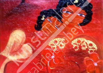 Paar in rot und gold als abstraktes Ölbild