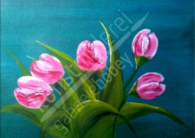 Acrylmalerei mit weiss-rosa Tulpen
