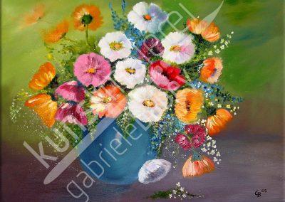Blumen in einer Vase auf einem Ölbild