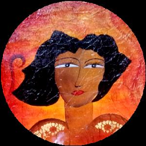 Abstrakte Dame auf einem roten Acrylbild
