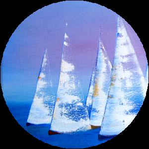 Ölmalerei mit Segelbooten bei einer Regatta
