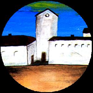 Acrylmalerei mit Landhaus