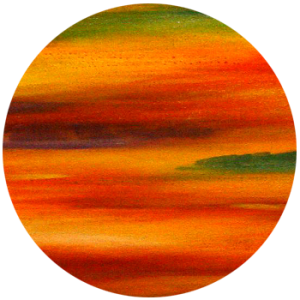 Abstrakte Acrylmalerei mit Strukturen in orange, rot und grün