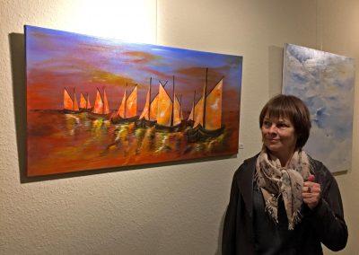 Ostsee-Bild mit Acrylmalerei abstrakt und Künstlerin Gabriele Bobey