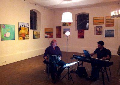 Musiker bei der Vernissage im Rittergut Besenhausen