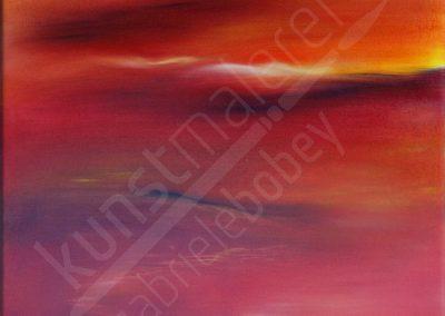 Malerei mit rotem Himmel in Ölfarben