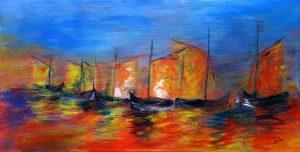 Abstrakte Acrylmalerei mit Fischerbooten auf dem Meer bei Sonnenuntergang