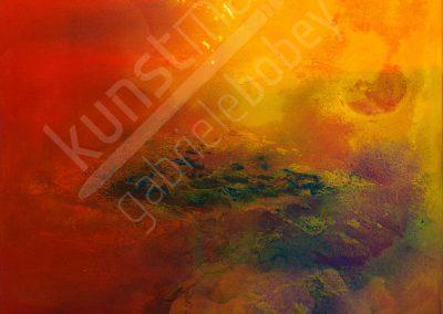 Farbintensives Leinwandbild aus Acryl mit Schütt-Technik
