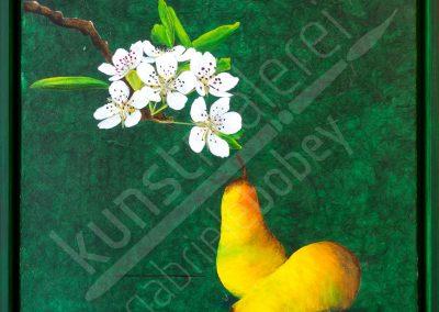 Birnen mit Blüten auf grüner Acrylleinwand