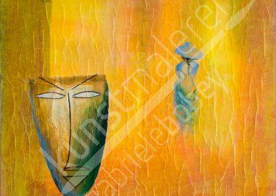Acrylfarben in Gelb-Orange mit einer Maske und einer Dame im Hintergrund