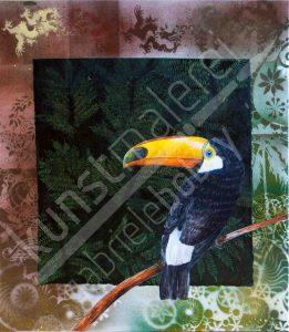 Collage mit Übermalungen in Acrylfarben mit einem Paradiesvogel
