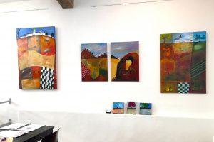 Abstrakte Acrylmalerei mit Landschaftsmotiven von der Kunstmalerin Gabriele Bobey.
