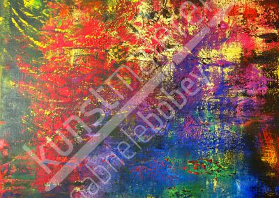 Die Abstraktion des Bildes erinnert den Betrachter an Seerosen auf einem Teich